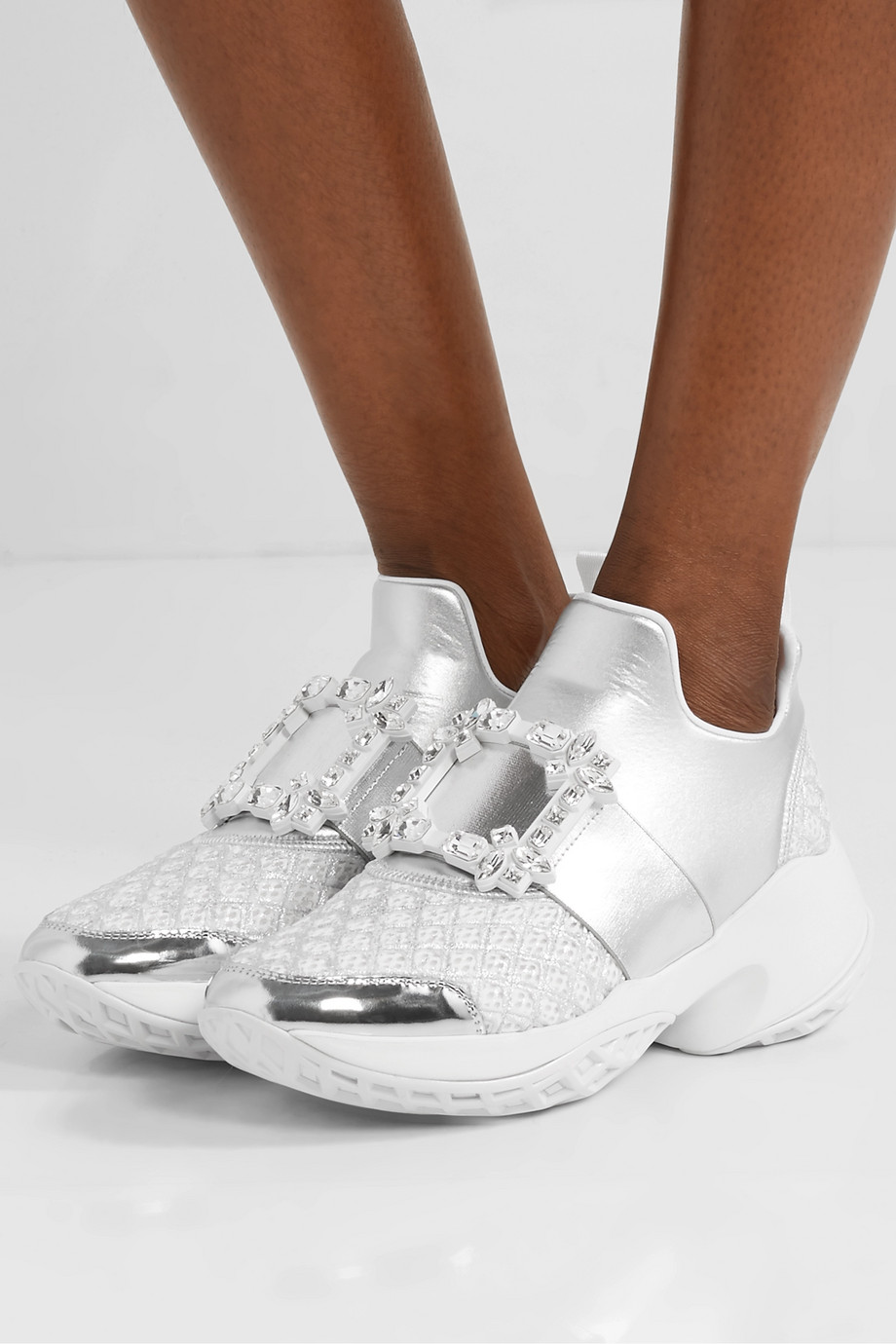ROGER VIVIER Viv Run crystal-embellished metallic neoprene, leather and mesh slip-on sneakers