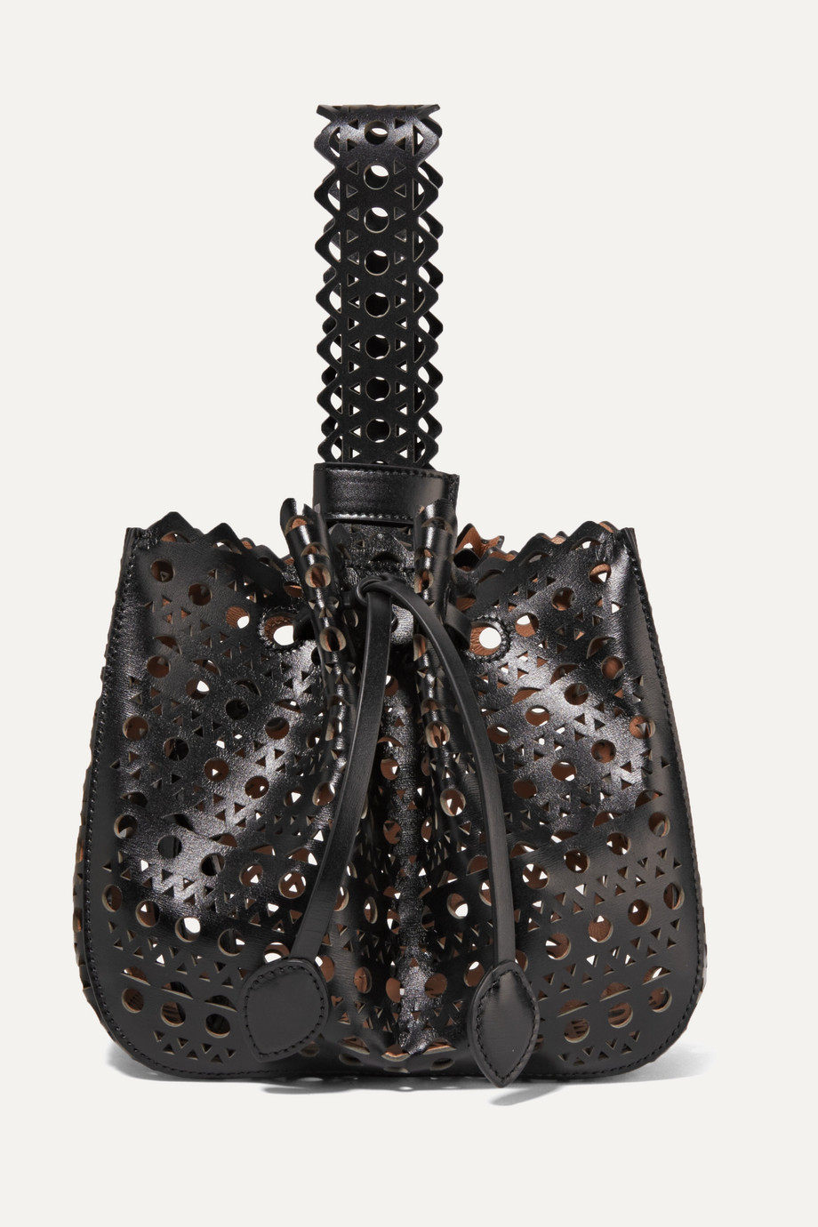 Alaïa Rose Marie laser-cut leather bucket bag