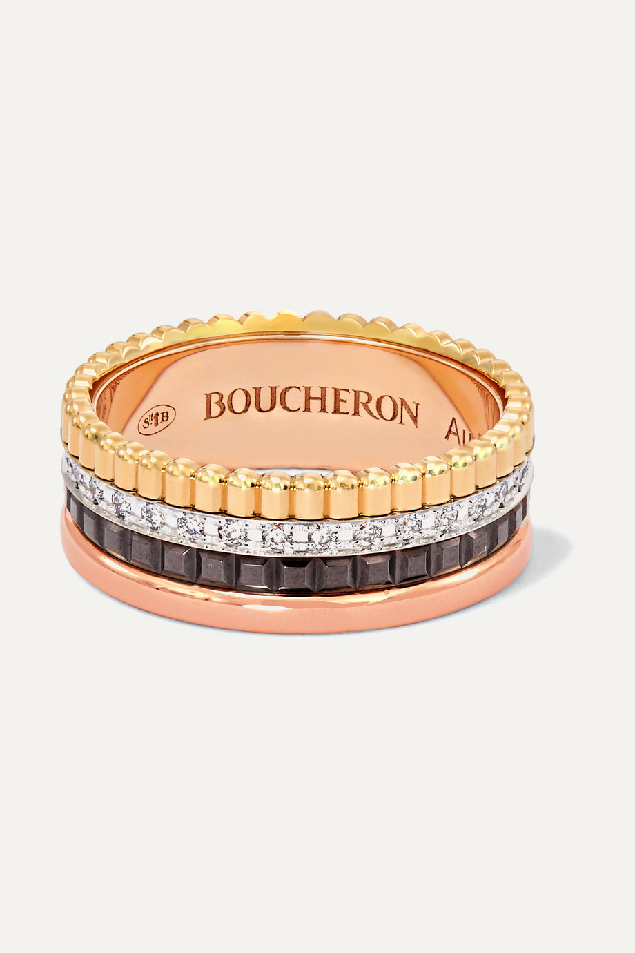BOUCHERON Quatre Classique Small 18-karat yellow, white and rose gold, PVD and diamond ring
