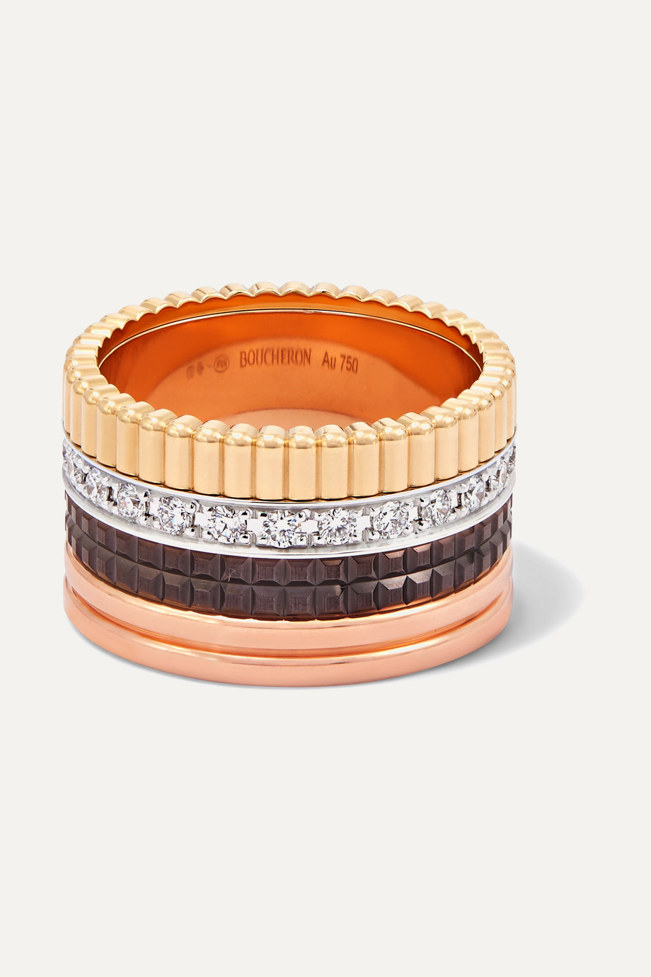 BOUCHERON Quatre Classique Large 18-karat yellow, rose and white gold diamond ring