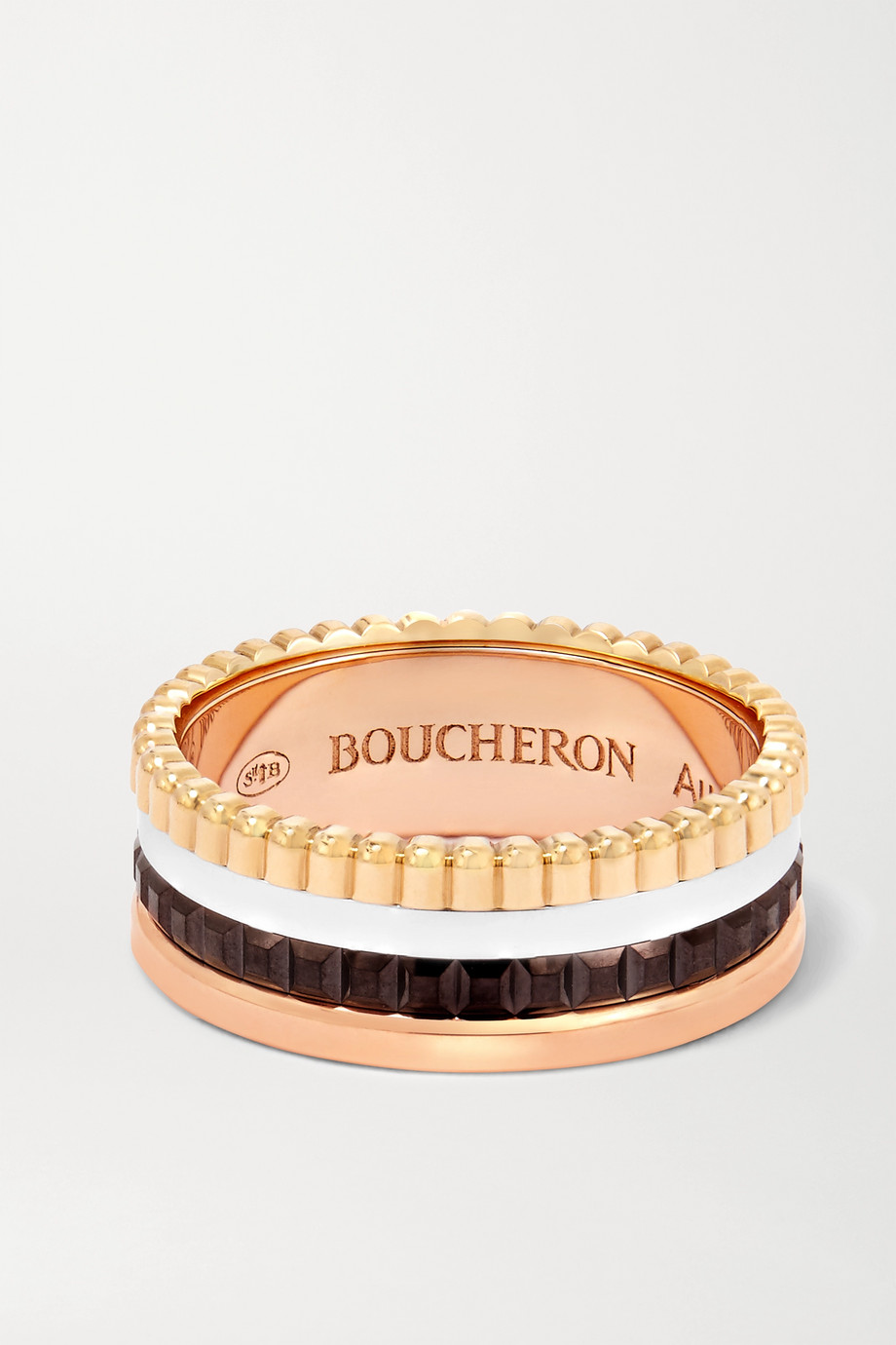 BOUCHERON Quatre Classique Small 18-karat yellow, white and rose gold and PVD ring