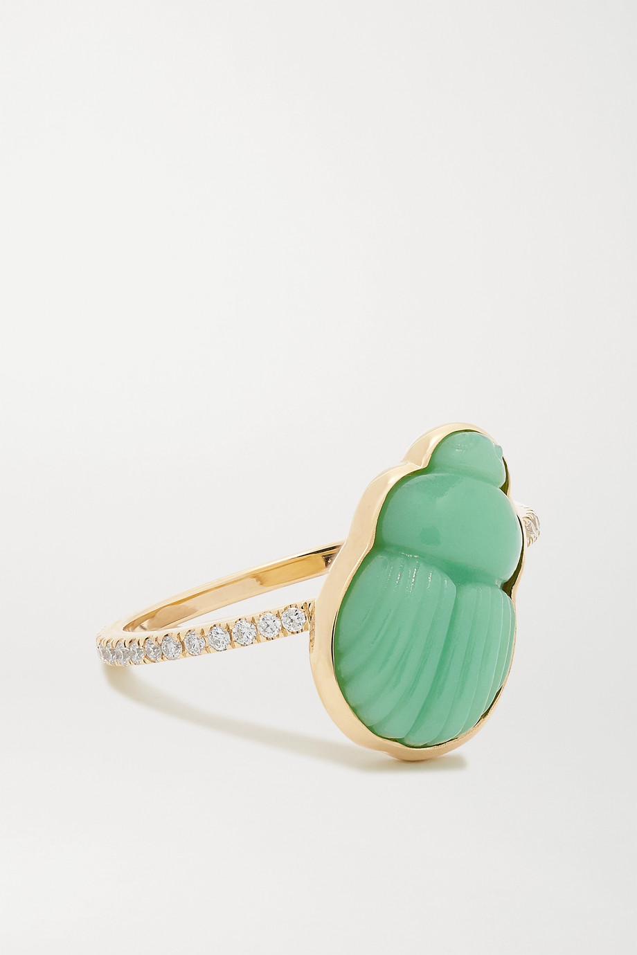 LITO Small Daria 14-karat gold, chrysoprase and diamond ring