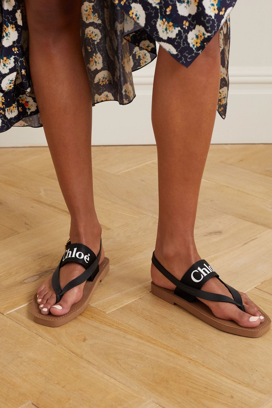 CHLOÉ Logo-print canvas and leather sandals