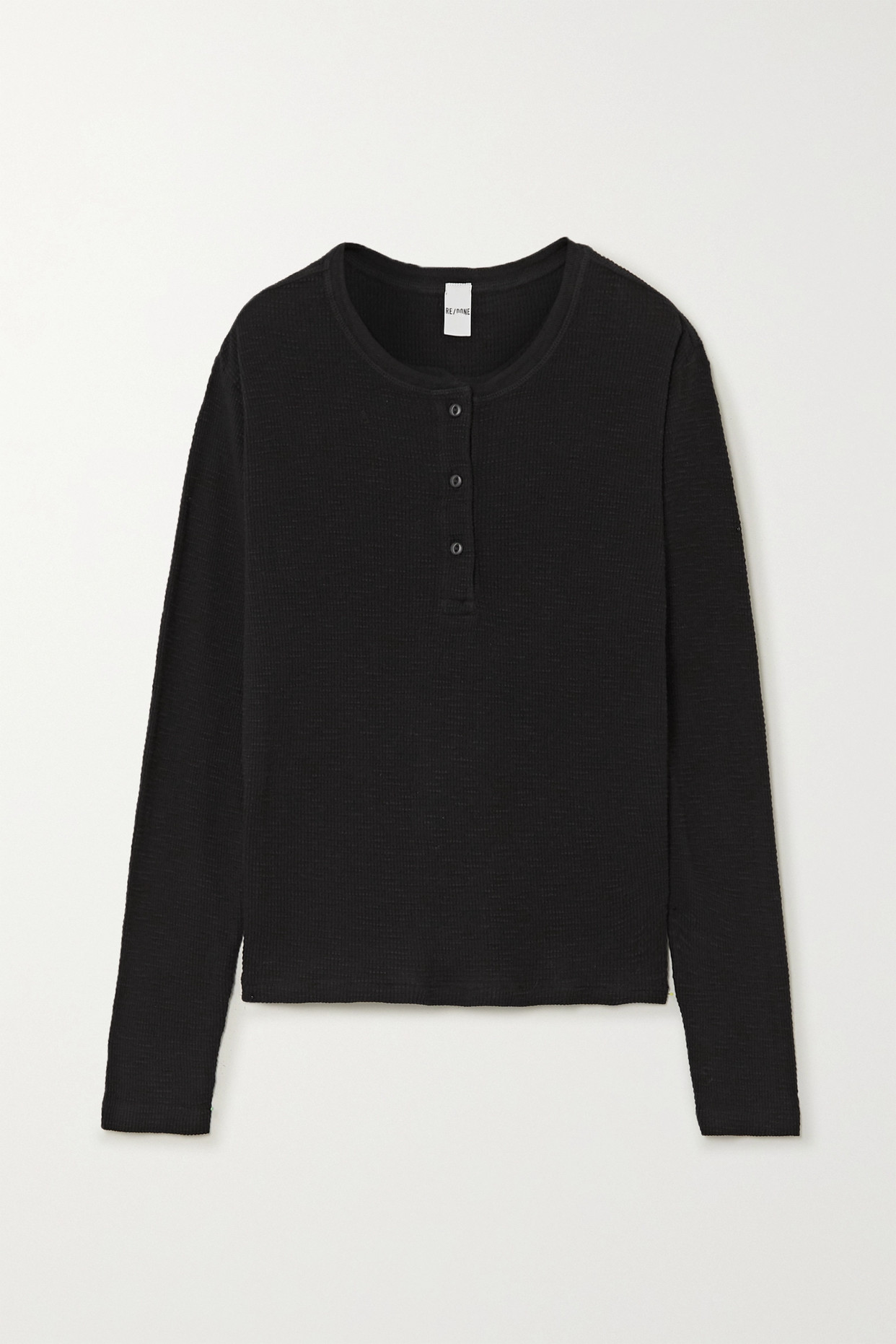 RE/DONE - Waffle-knit Cotton-jersey Top - Black - small