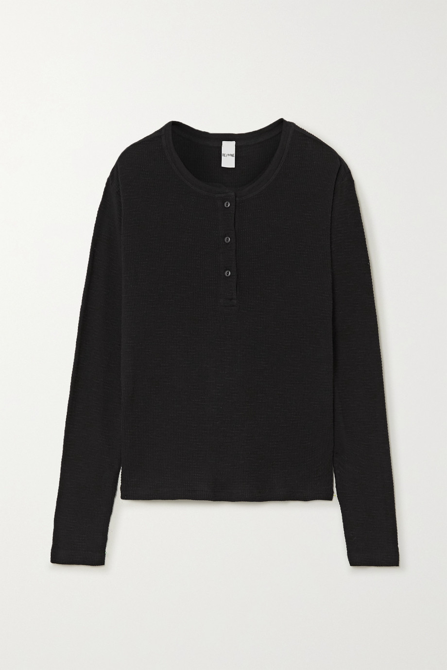 RE/DONE Waffle-knit cotton-jersey top