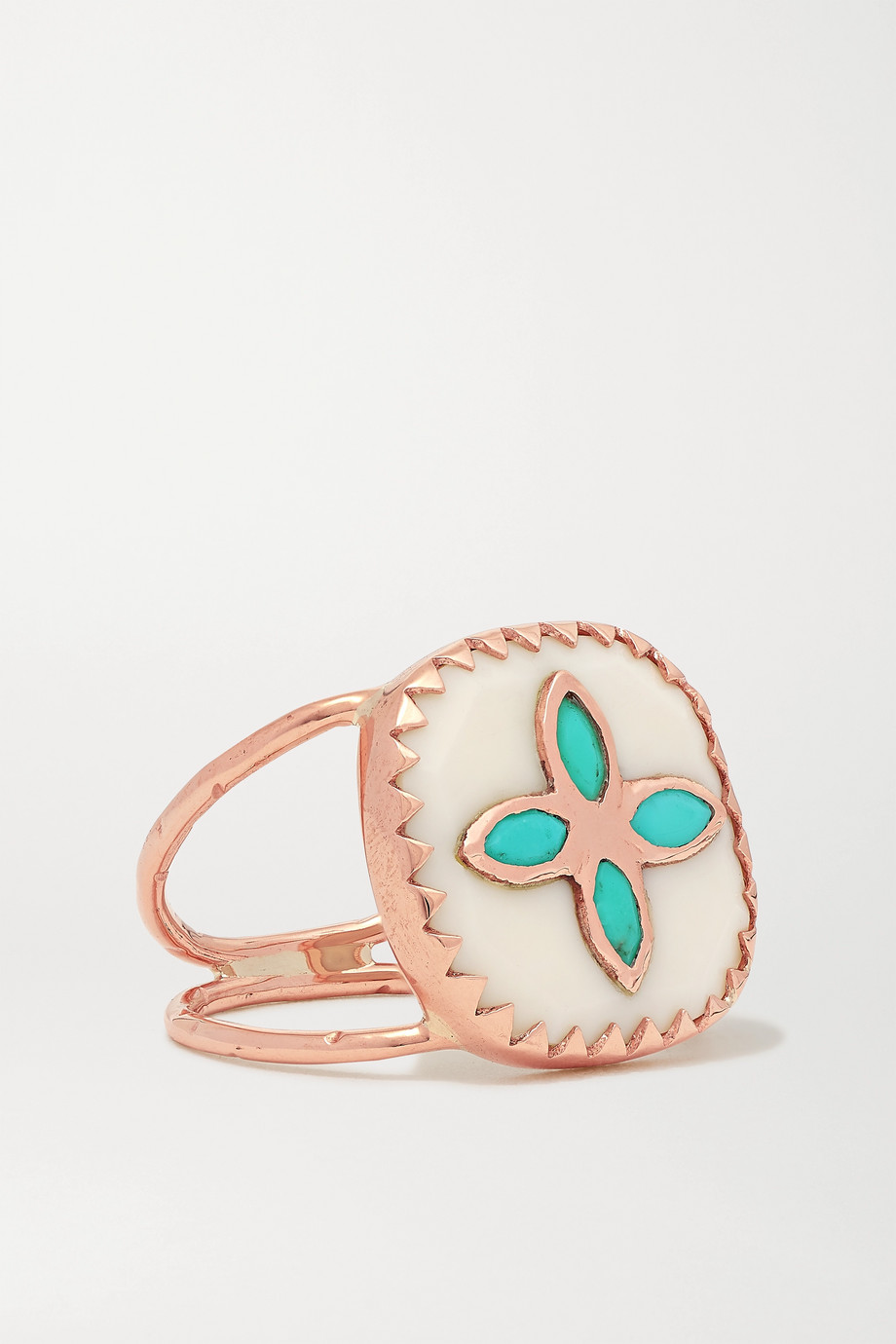 PASCALE MONVOISIN Bowie N°2 9-karat rose gold, resin and turquoise ring