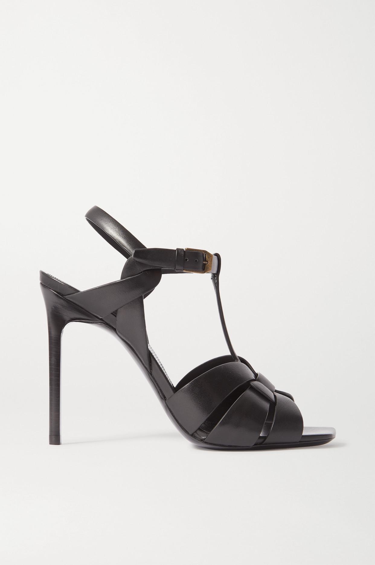 SAINT LAURENT - Tribute Woven Leather Sandals - Black - IT40