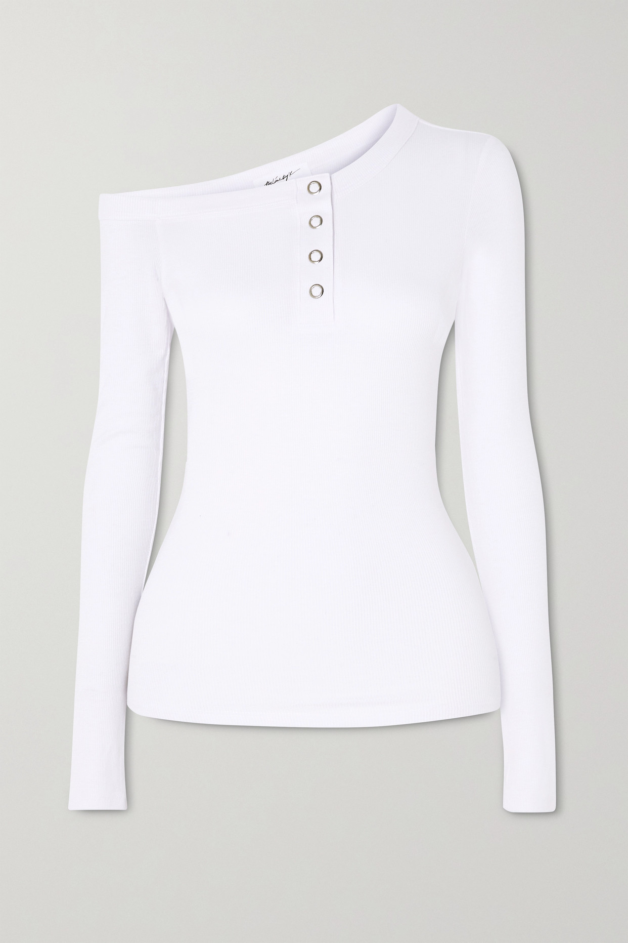 THE LINE BY K - Harley Off-the-shoulder Ribbed Jersey Top - White - x small