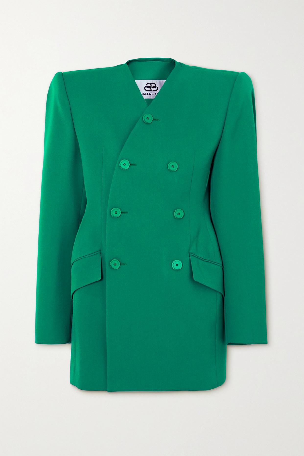 BALENCIAGA - 双排扣羊毛混纺西装外套 - 蓝色 - FR34