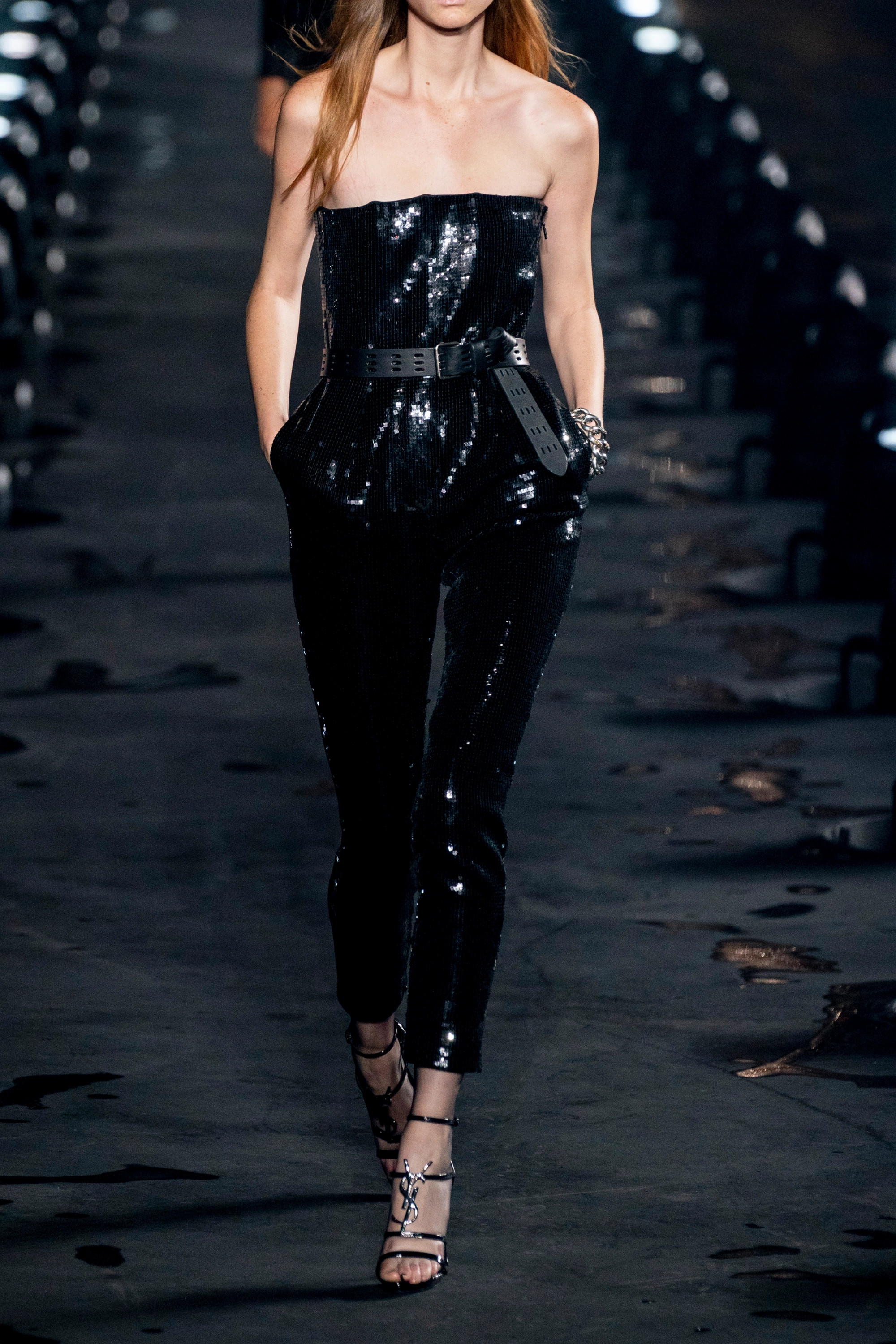 SAINT LAURENT Strapless sequined crepe jumpsuit