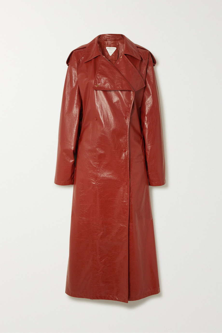 BOTTEGA VENETA Crinkled glossed leather trench coat