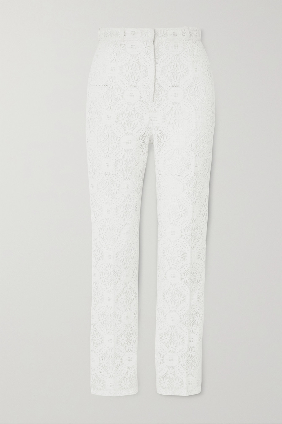 ALEXANDER MCQUEEN Cotton-blend guipure lace tapered pants