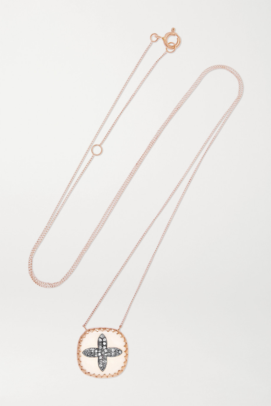 PASCALE MONVOISIN Bowie 9-karat rose gold, sterling silver, resin and diamond necklace