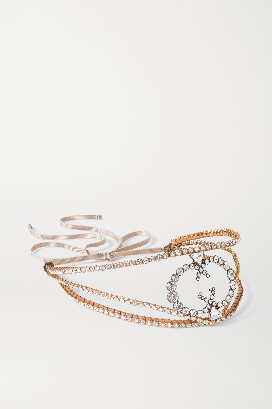 GUCCI Grosgrain-trimmed gold-tone crystal headband