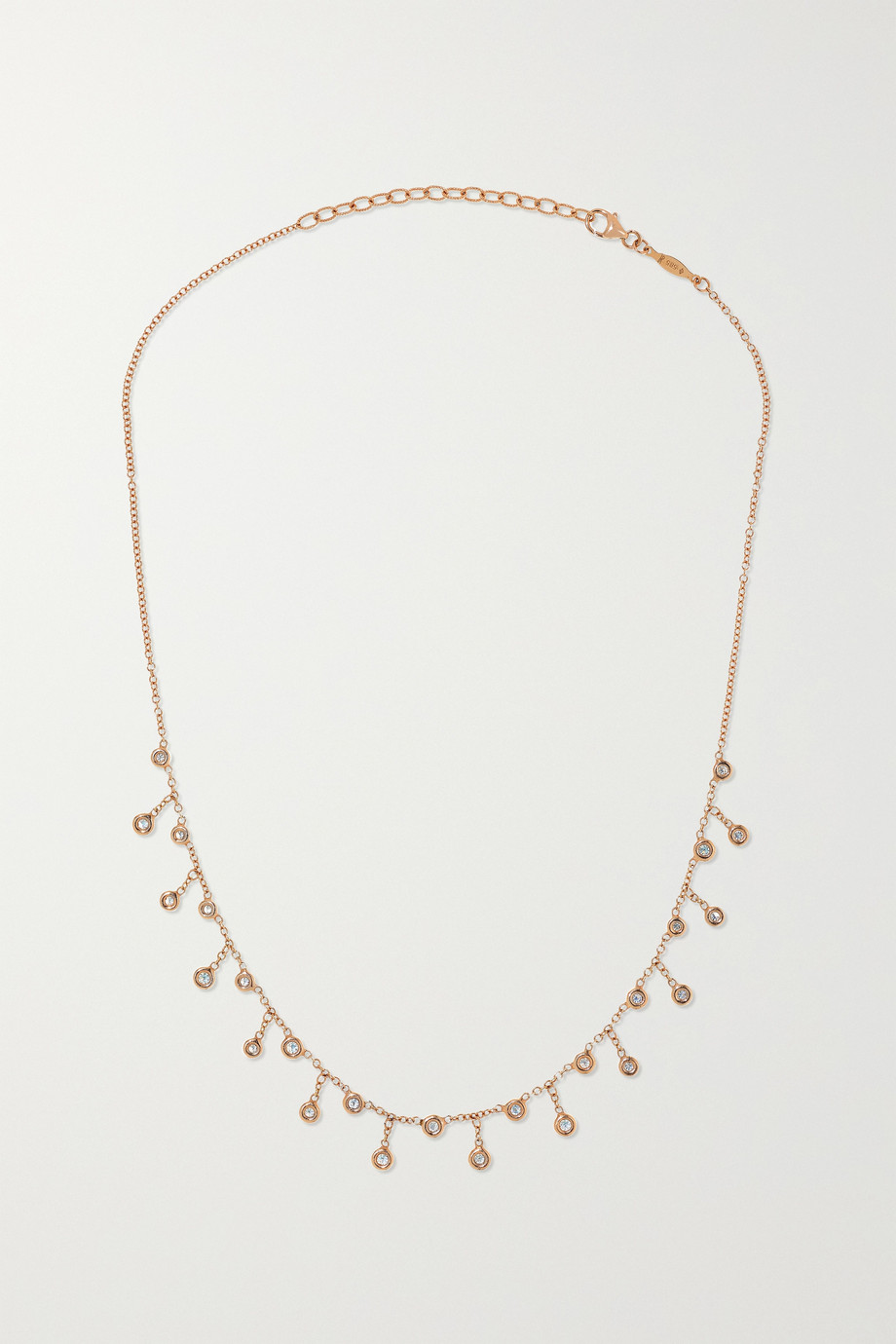 JACQUIE AICHE 14-karat rose gold diamond necklace