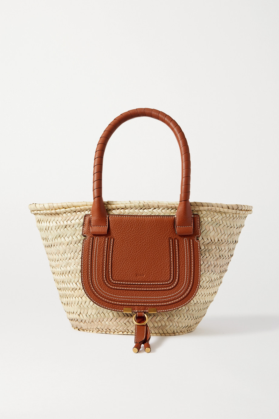 CHLOÉ Marcie leather-trimmed raffia tote