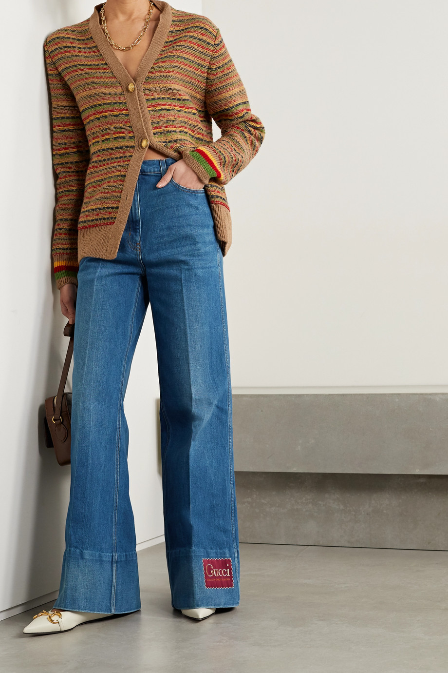 GUCCI Appliquéd high-rise flared jeans