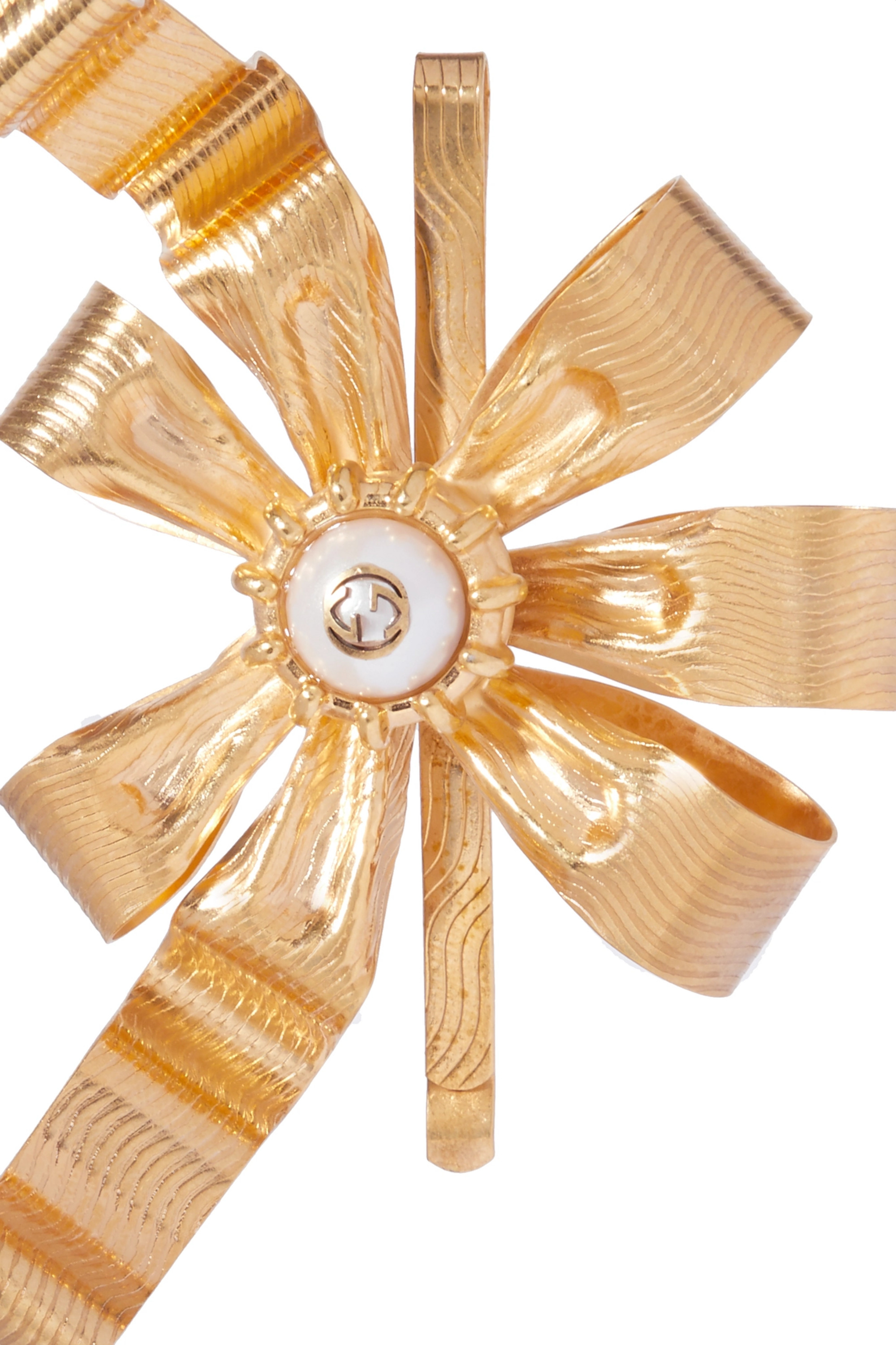 GUCCI Gold-plated faux pearl hair slide