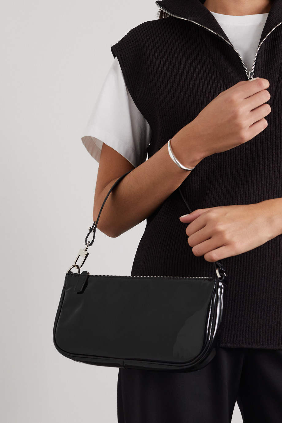 BY FAR Rachel patent-leather shoulder bag