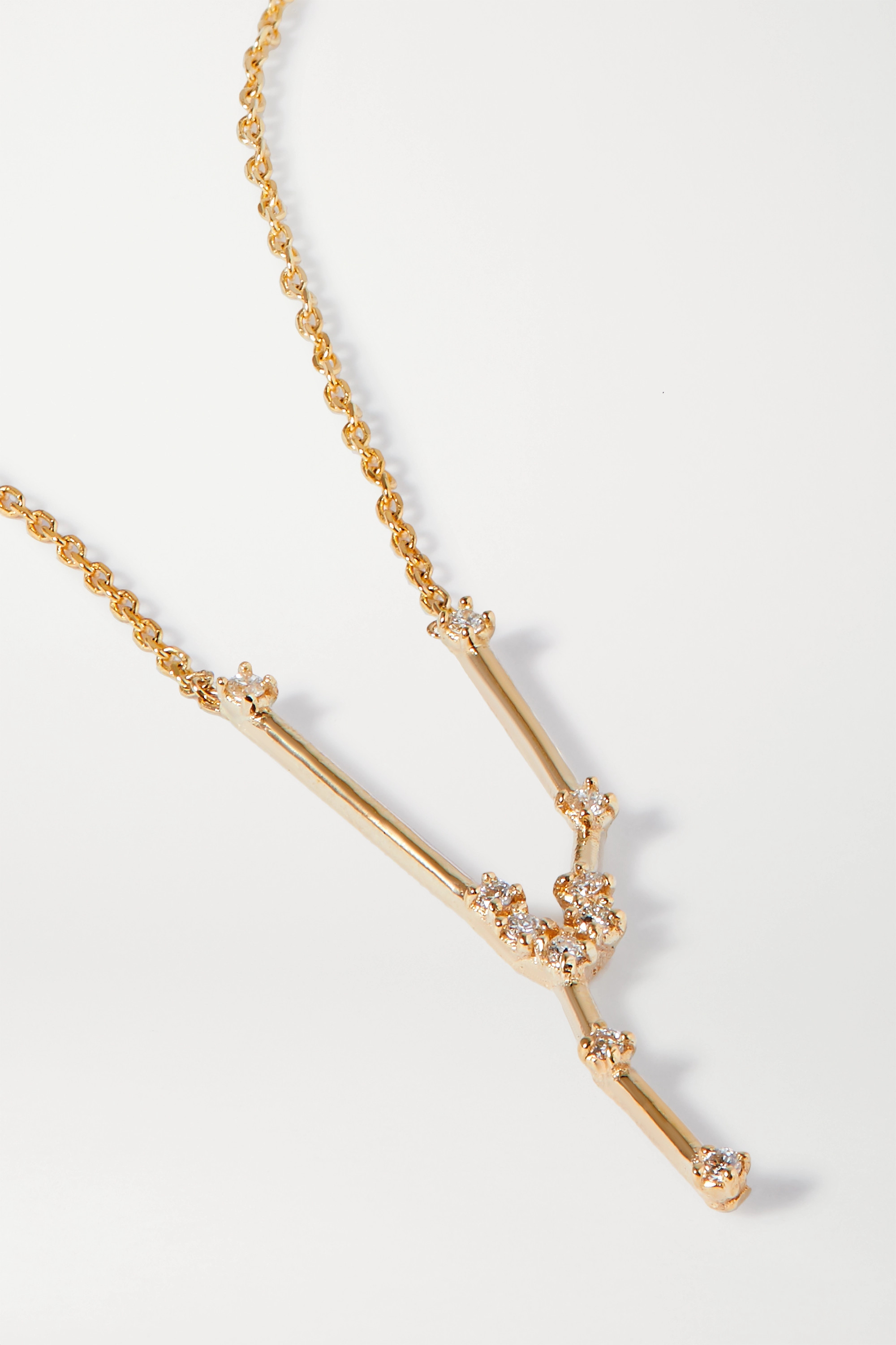 SARAH & SEBASTIAN Celestial Taurus 10-karat gold diamond necklace