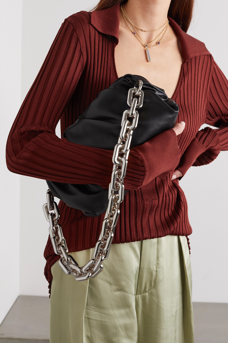 BOTTEGA VENETA The Pouch chain-embellished gathered leather clutch