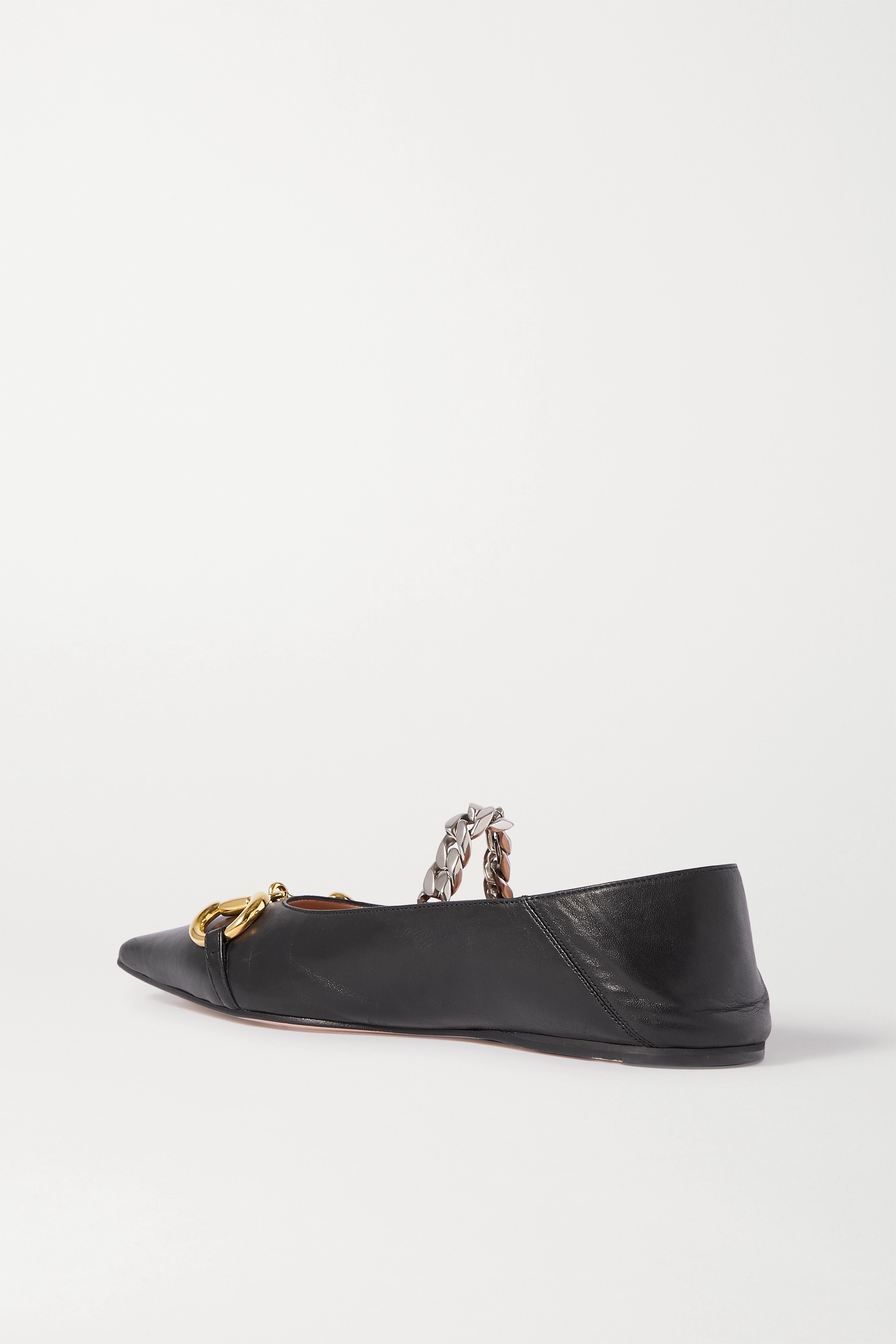 GUCCI Deva embellished leather collapsible-heel point-toe flats
