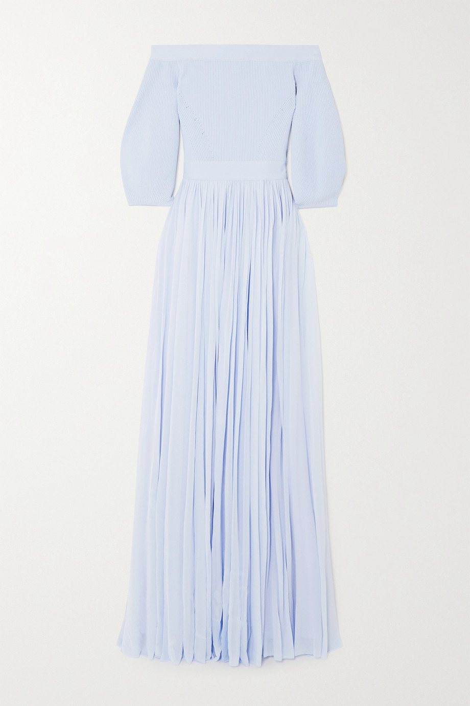 ALEXANDER MCQUEEN Off-the-shoulder ribbed-knit and crepe de chine gown