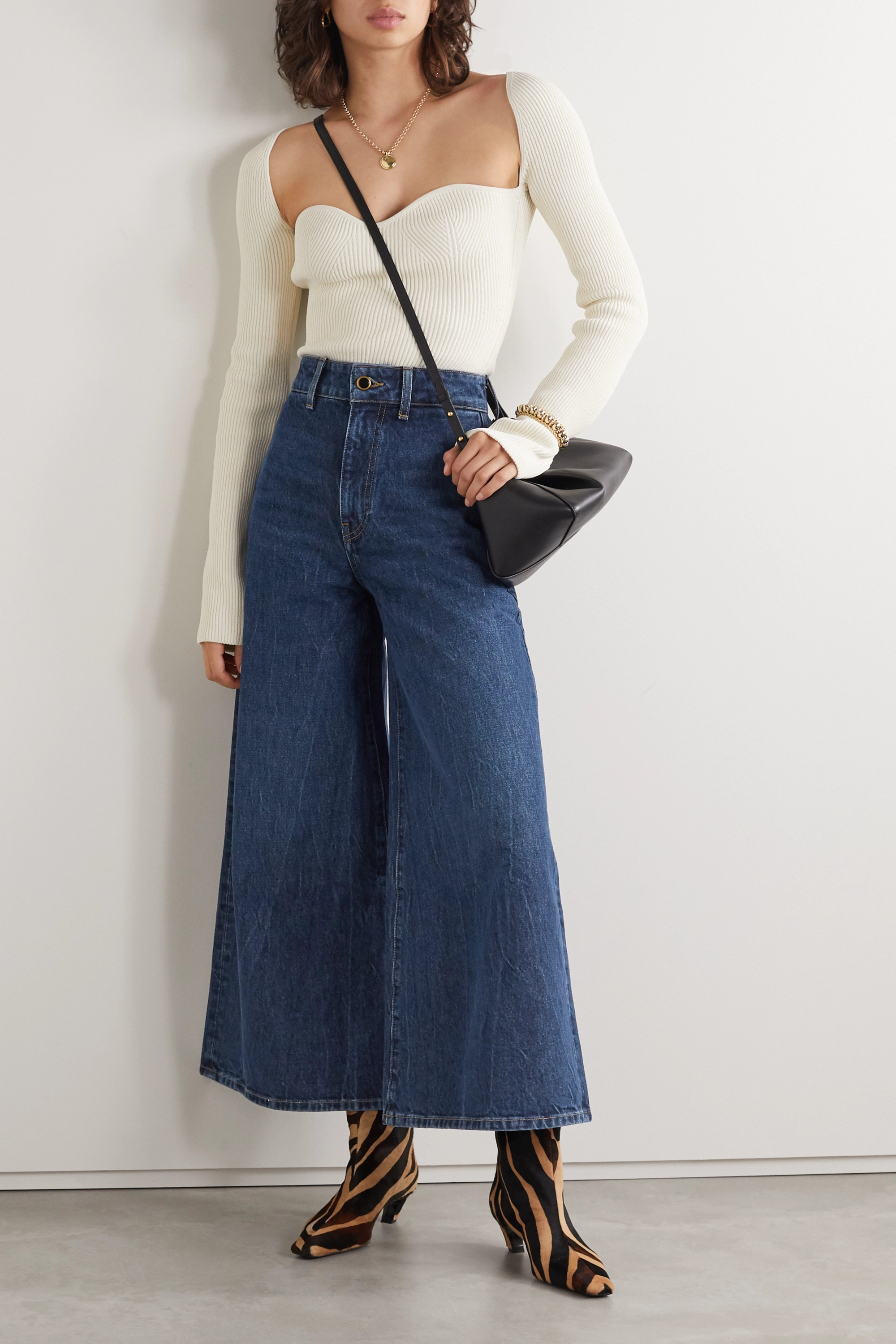 KHAITE Darcy cropped mid-rise wide-leg jeans