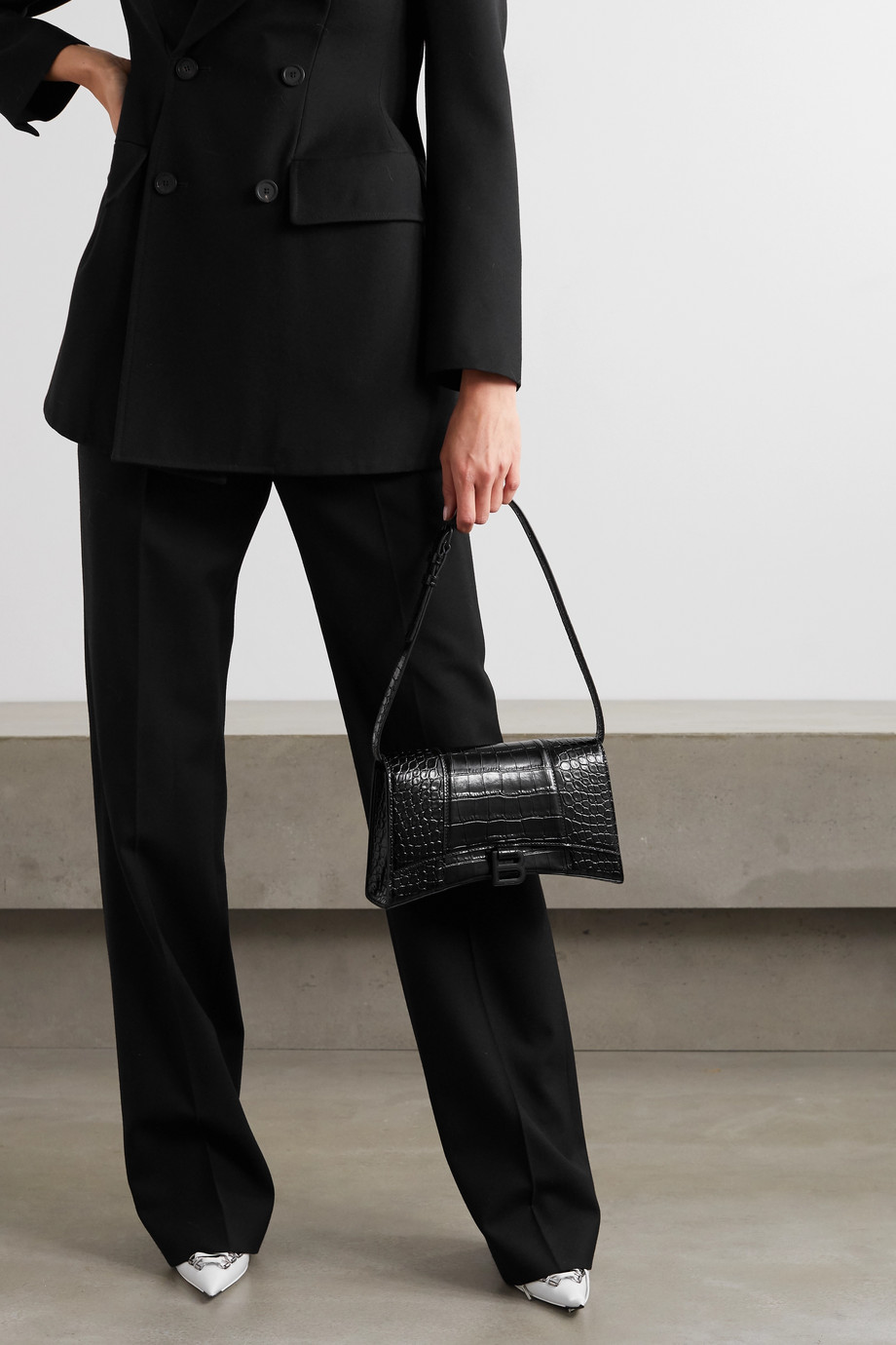 BALENCIAGA Hourglass croc-effect leather shoulder bag
