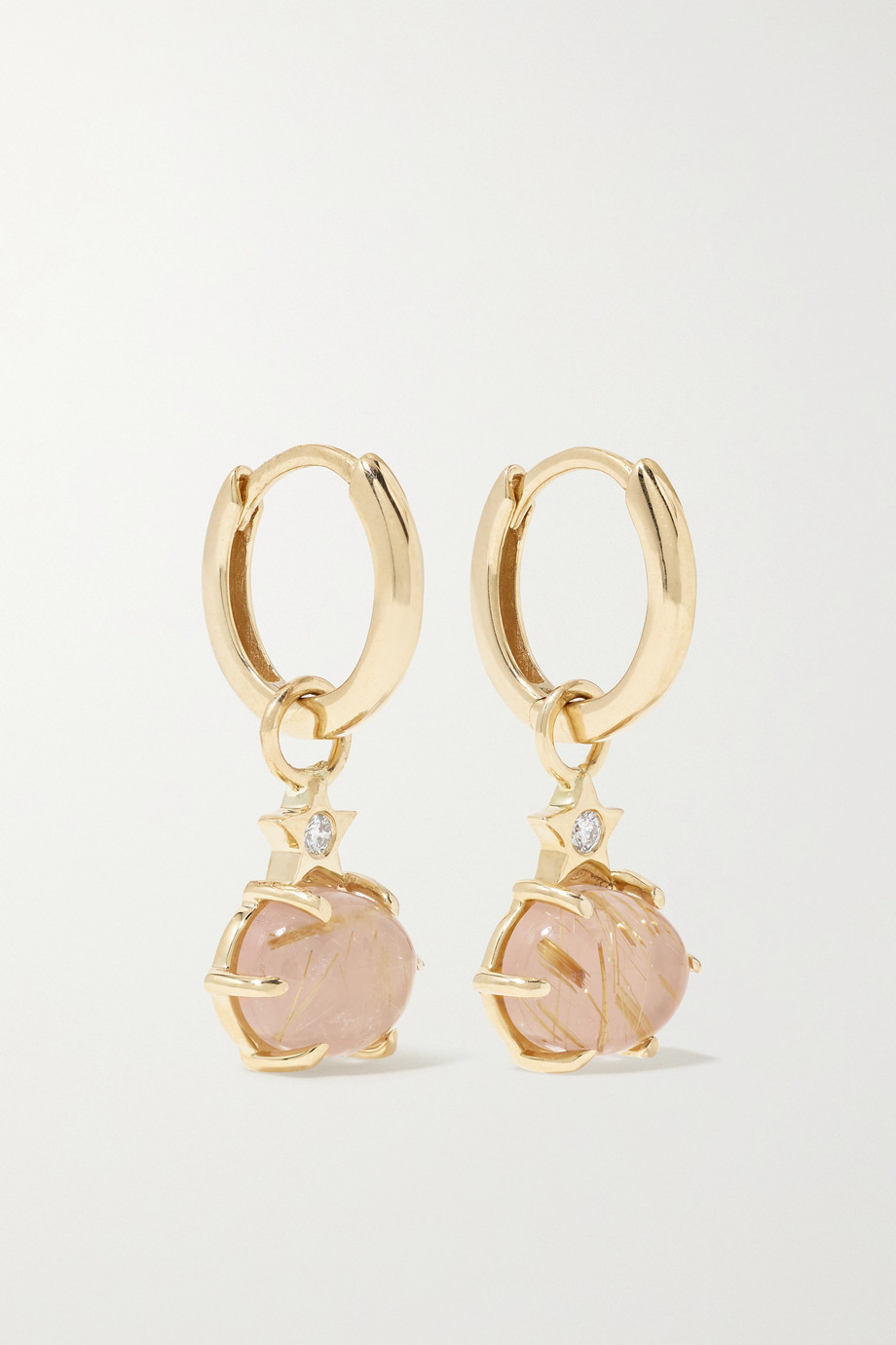 ANDREA FOHRMAN Mini Cosmo 14-karat gold, quartz and diamond earrings