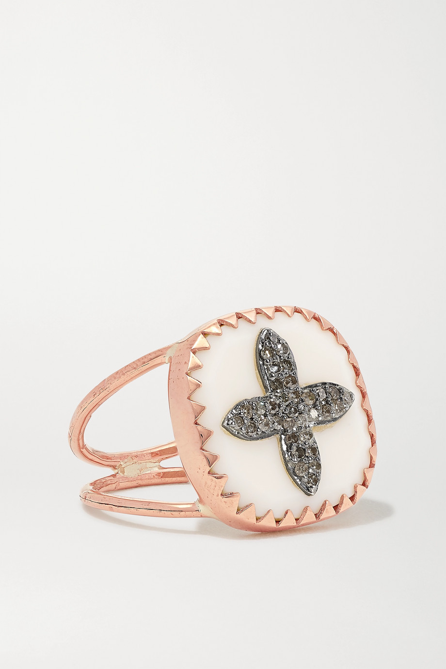 PASCALE MONVOISIN Bowie N°2 9-karat rose gold, sterling silver, resin and diamond ring