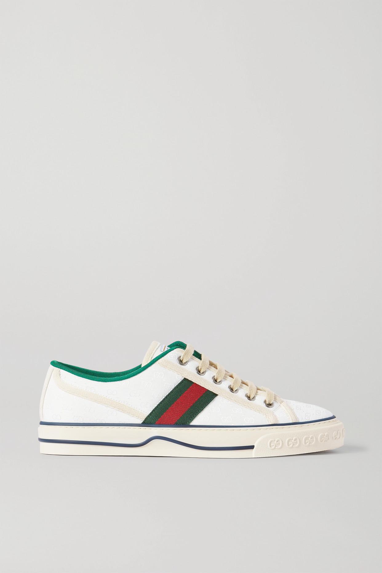 GUCCI - Tennis 1997 织带边饰品牌标志刺绣帆布运动鞋 - 白色 - IT35