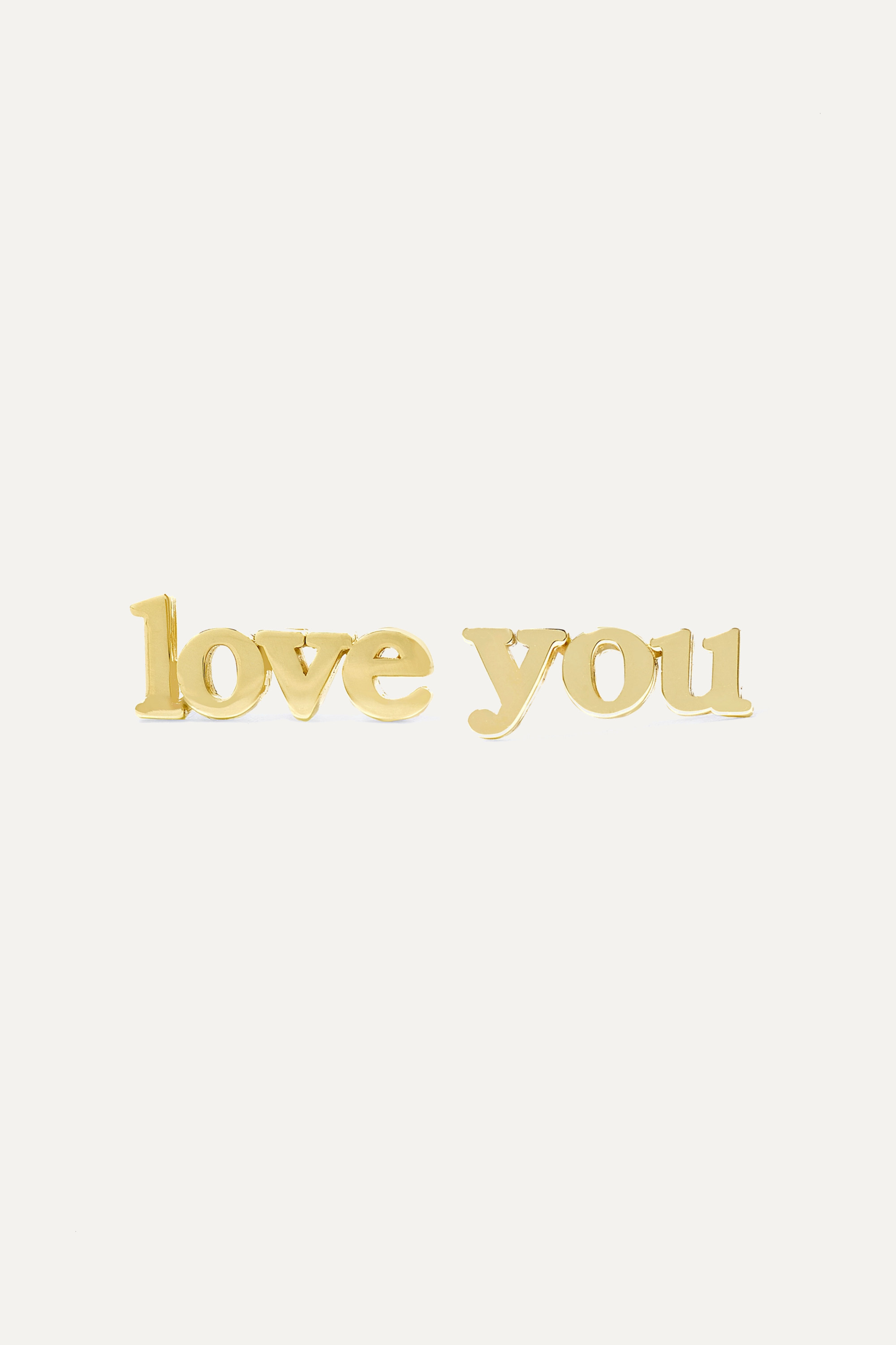 JENNIFER MEYER Love You 18-karat gold earrings