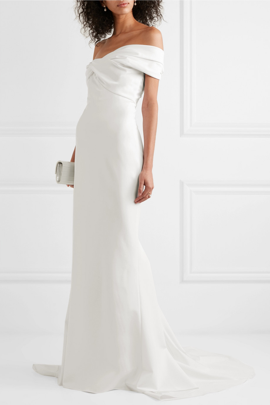 CUSHNIE Off-the-shoulder crepe gown