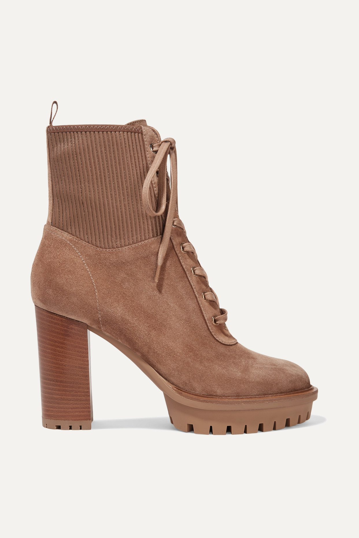 GIANVITO ROSSI - Martis 90 Lace-up Leather-trimmed Suede Ankle Boots - Brown - IT35