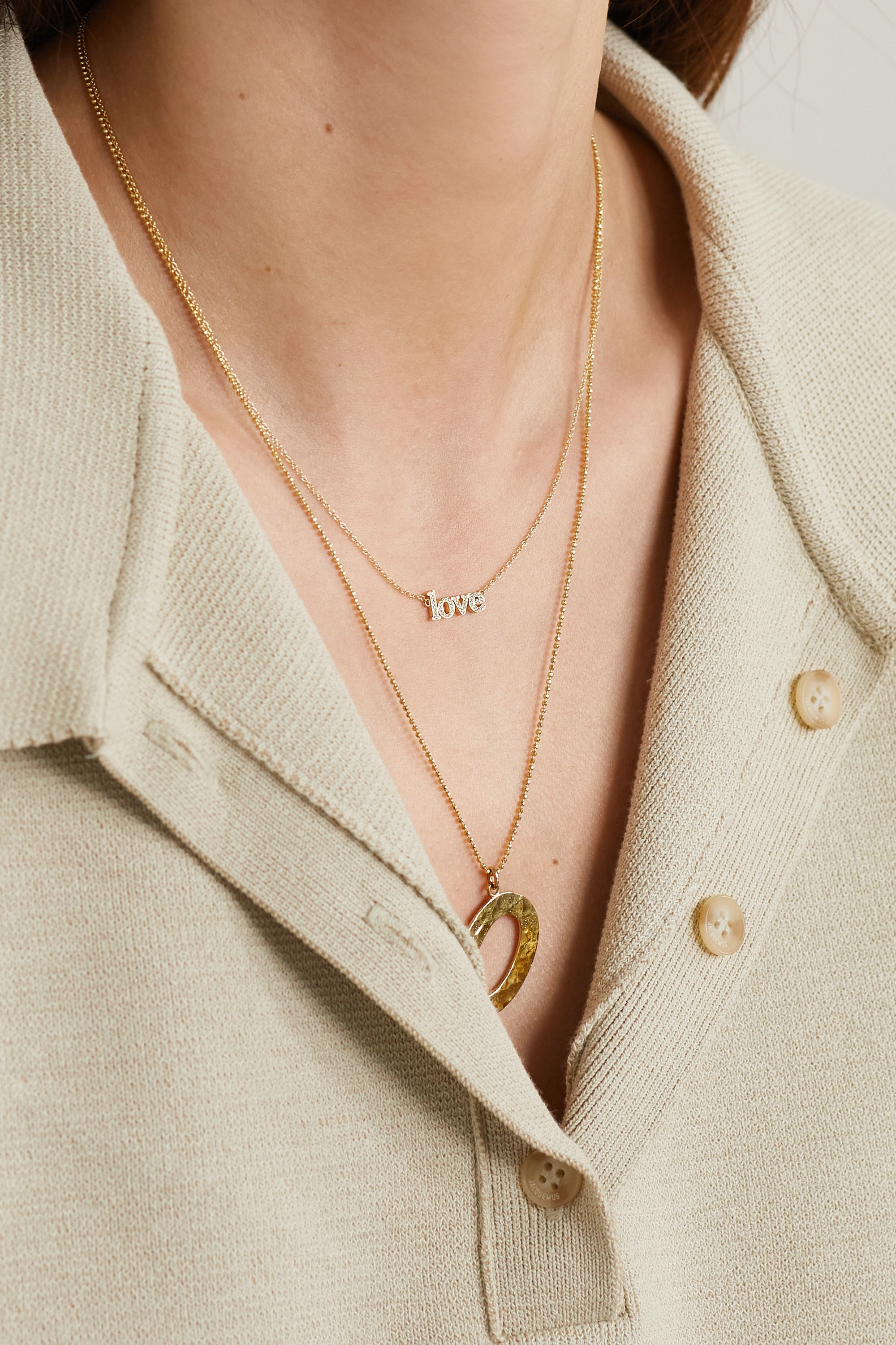 JENNIFER MEYER Love 18-karat gold diamond necklace