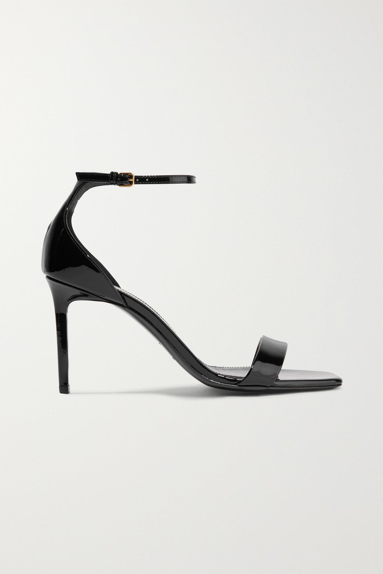 SAINT LAURENT - Amber Patent-leather Sandals - Black - IT36