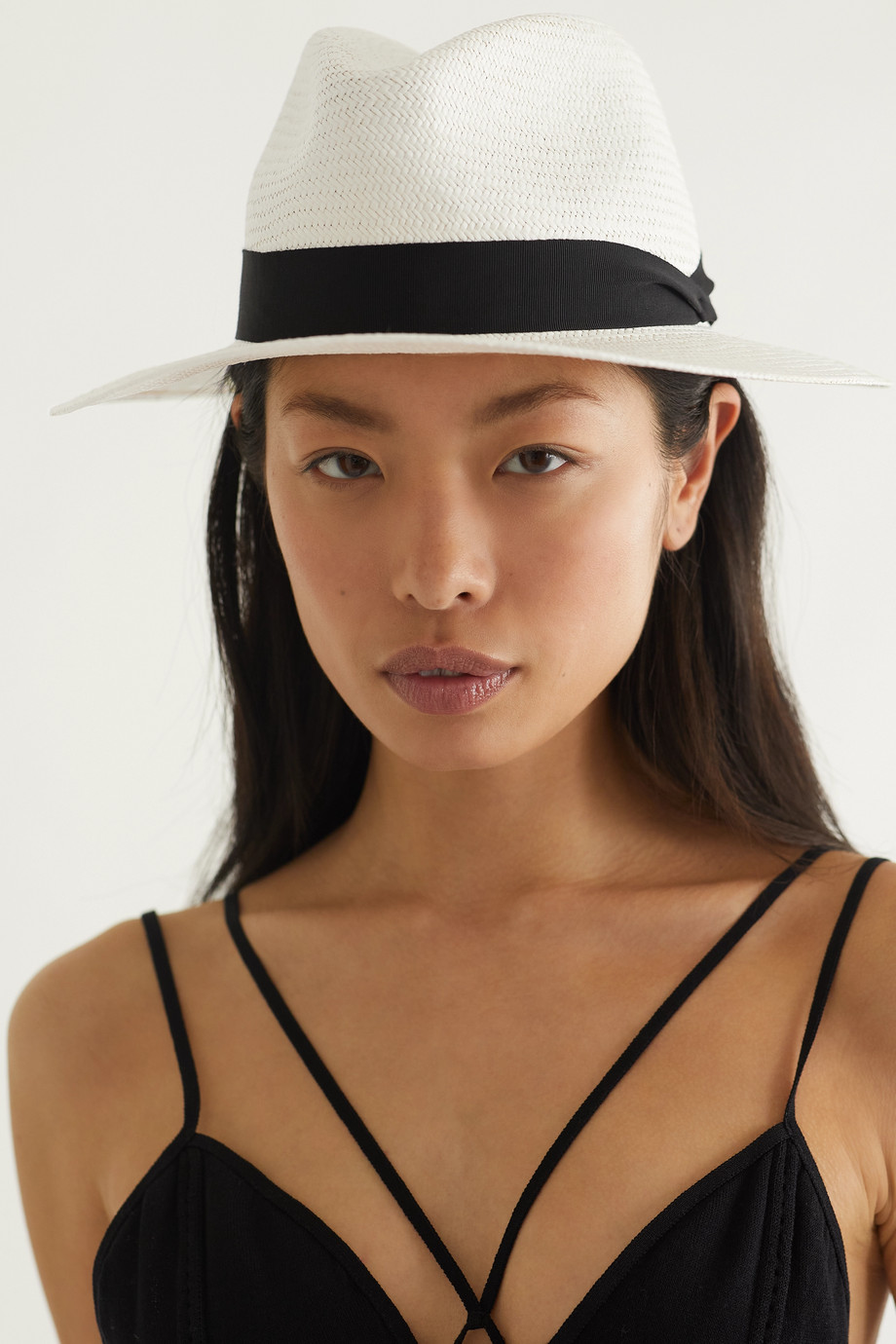RAG & BONE Grosgrain-trimmed straw Panama hat