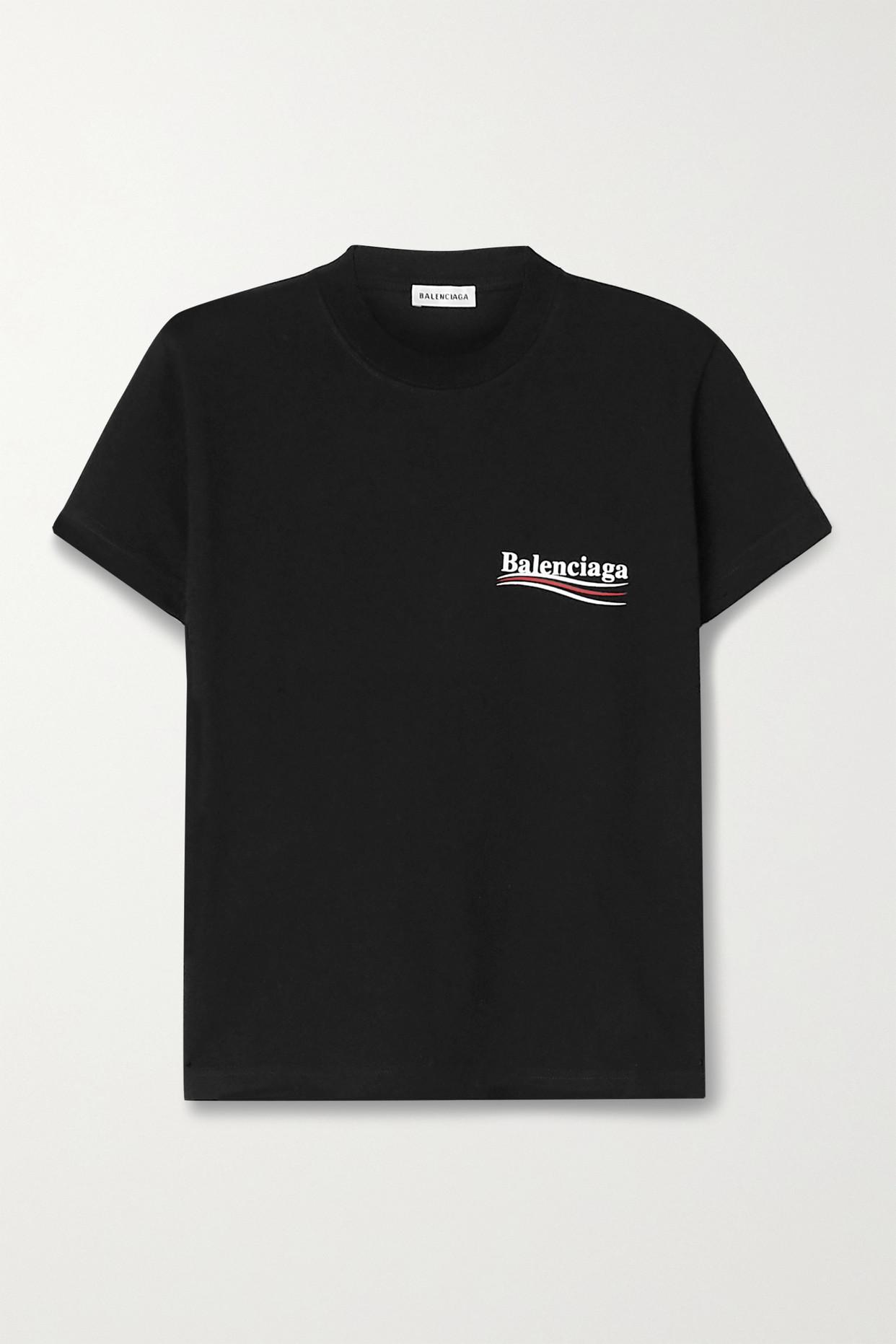 BALENCIAGA - Printed Cotton-jersey T-shirt - Black - small