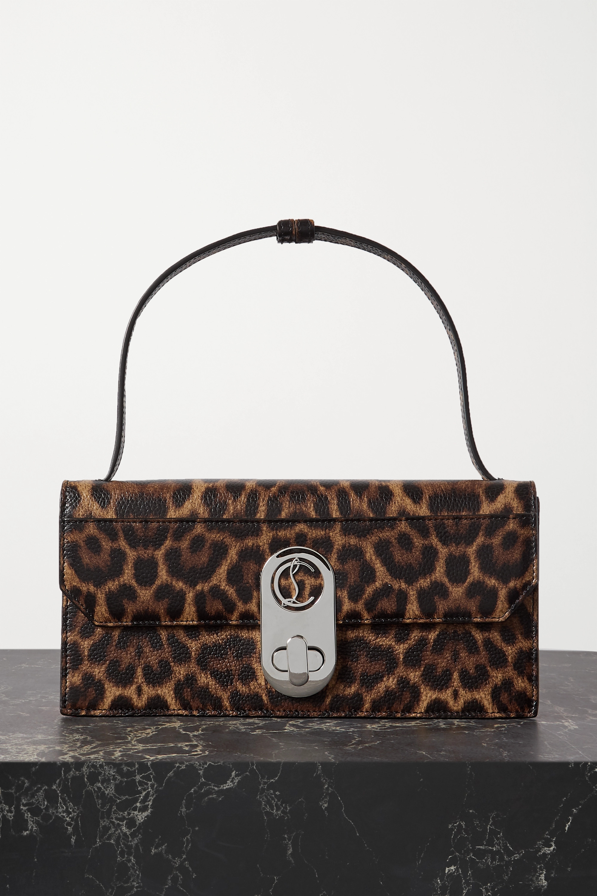 CHRISTIAN LOUBOUTIN Elisa small leopard-print textured-leather shoulder bag