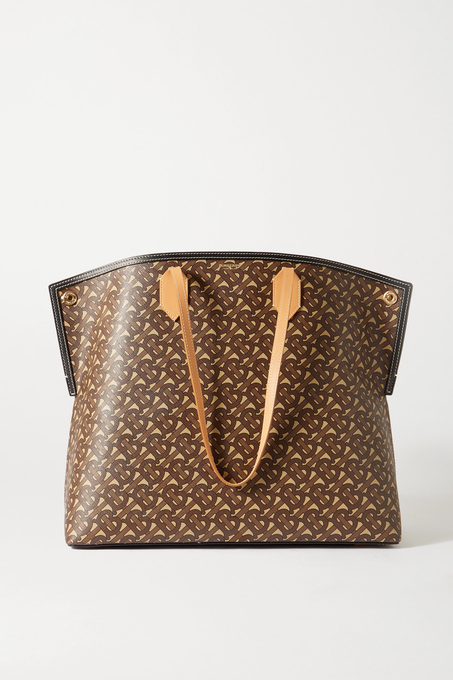 BURBERRY Leather-trimmed printed coated-canvas tote