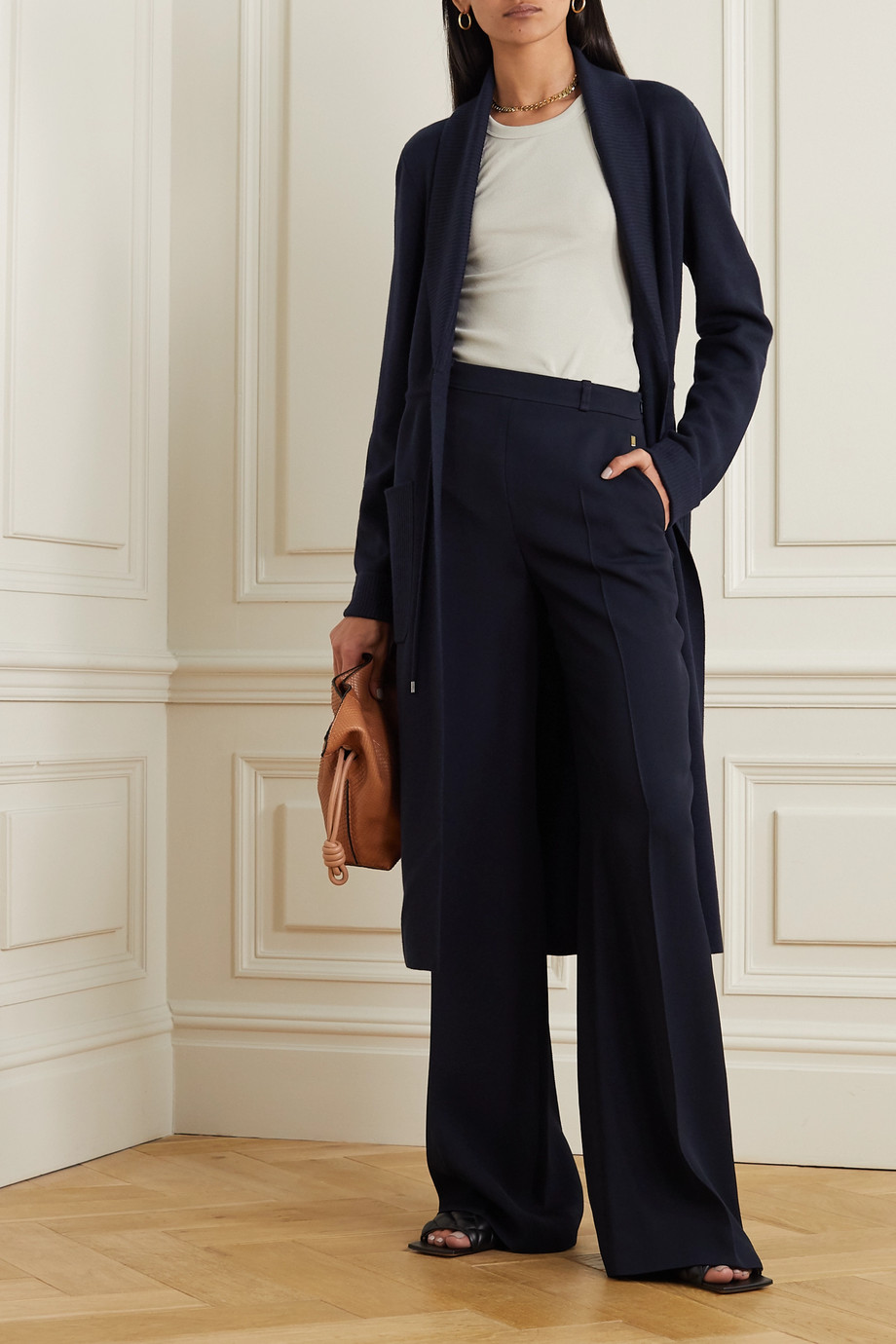LORO PIANA Belted cashmere and silk-blend cardigan