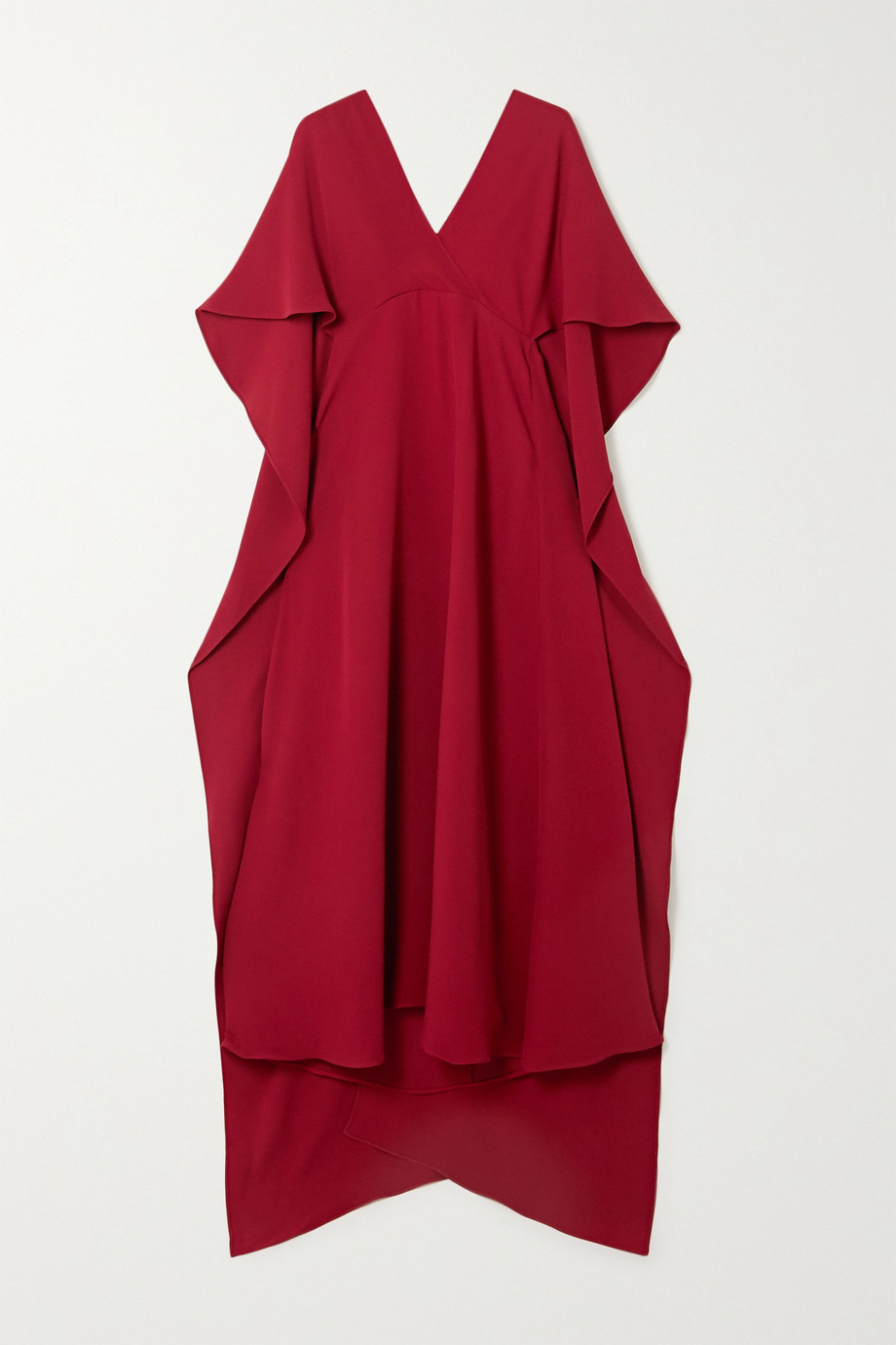 VALENTINO Lace-trimmed silk crepe de chine midi dress