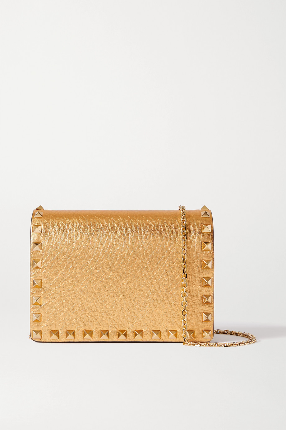 VALENTINO Rockstud metallic textured-leather shoulder bag