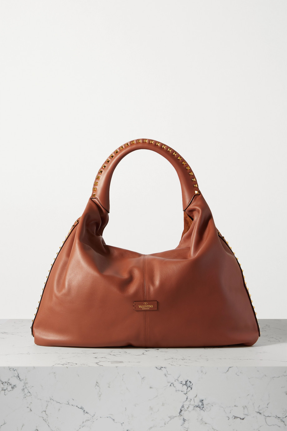 VALENTINO Valentino Garavani Rockstud large paneled leather and suede tote