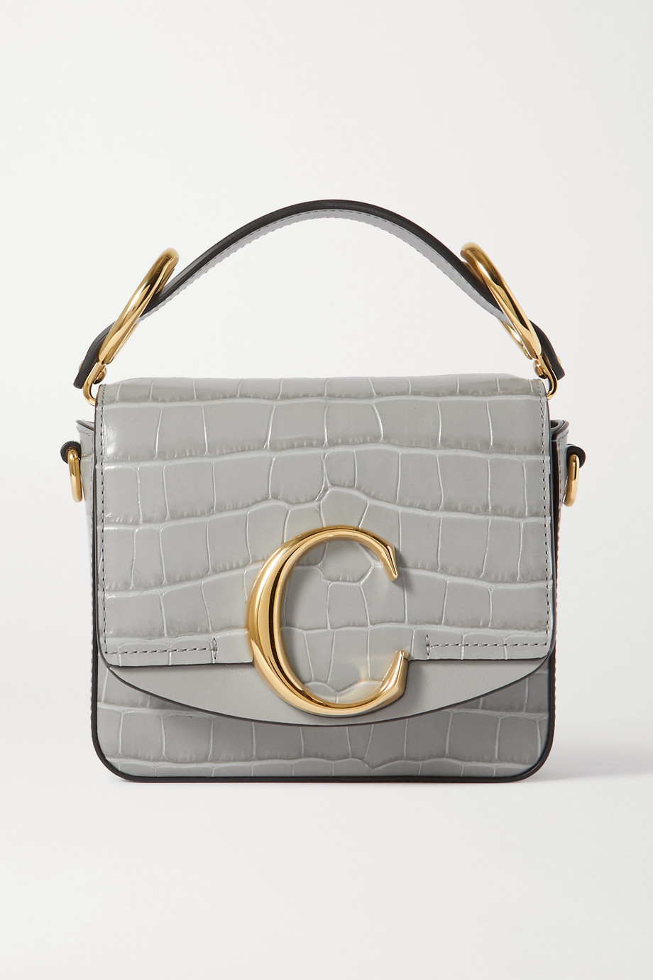 Chloé Chloé C mini smooth and croc-effect leather tote