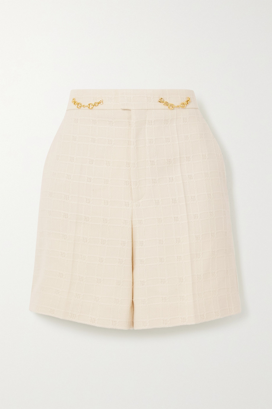 GUCCI Horsebit-detailed cotton and wool-blend jacquard shorts