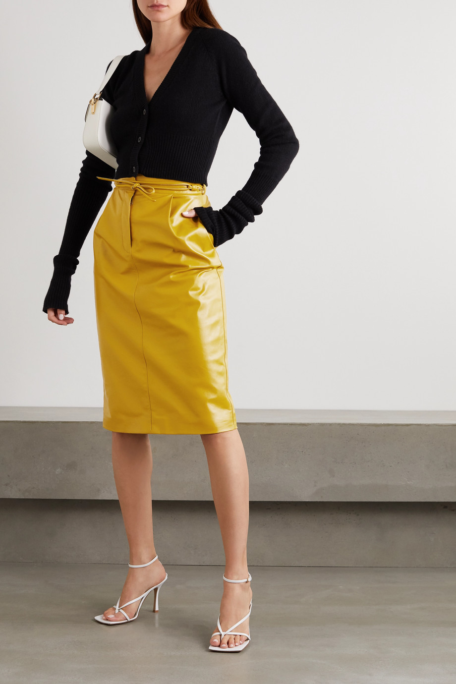 VALENTINO Belted leather midi skirt