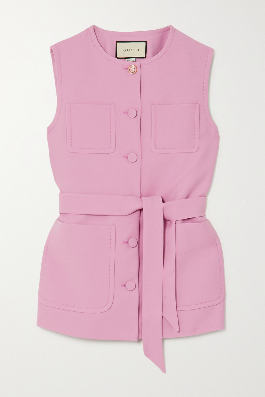 GUCCI Belted silk and wool-blend vest