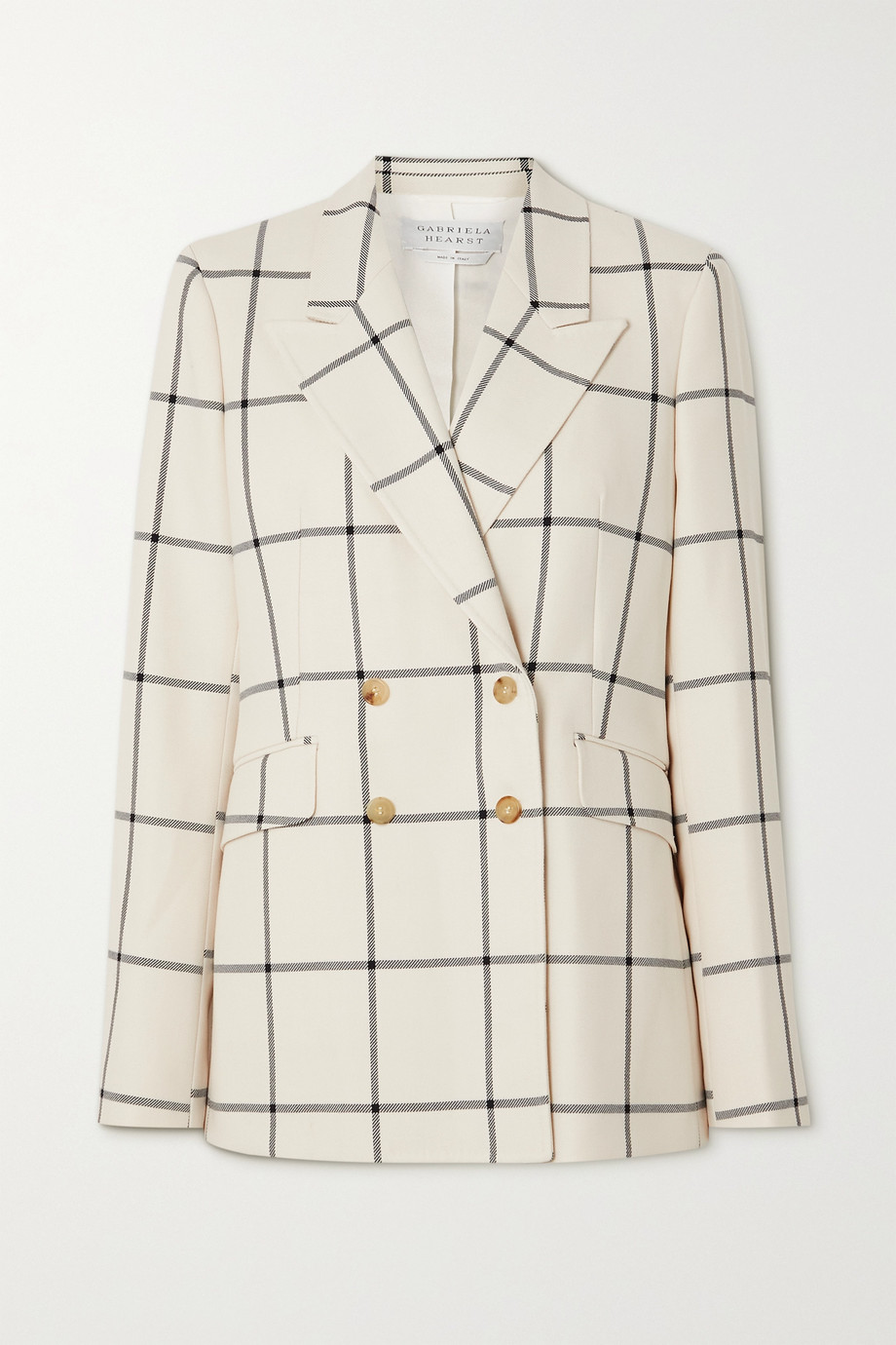 Gabriela Hearst Angela double-breasted checked wool-twill blazer